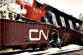 Railroaded CN loco on car image
