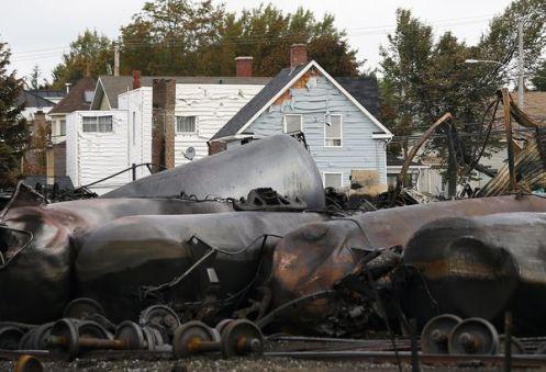 Railroaded petroleum derailment fire image july 6 2013 Nat Geo