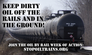 Railroaded stop oil trains image and message